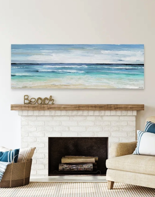 Horizontal Panorama Ocean Beach Art Canvas