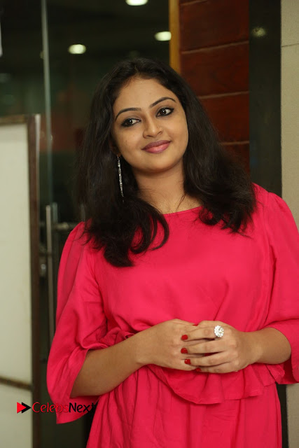 Actress Arundathi Nair Stills in Red Chididar at Bethaludu Success Meet  0003.JPG