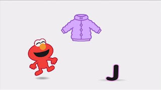 "Animated Elmo sings the J sound on the word ""jacket."" Sesame Street Episode 4324 Trashgiving Day season 43"