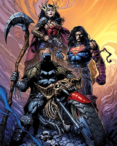 Portada de 'Dark Nights: Death Metal' con Batman, Superman y Wonder Woman