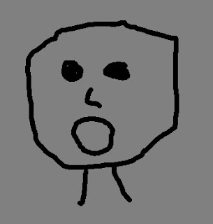 a stick figure drawing of a face with mouth wide open and startled eyes