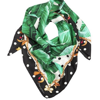 Dolce & Gabbana palm leaf and polka dots cream green and black edge silk twill scarf