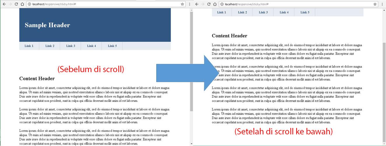 Cara Membuat Sticky Navigation (Fixed Position saat di scroll