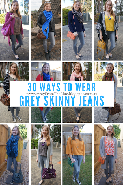 30 ways to wear grey skinny jeans away from the blue outfit idea blogger
