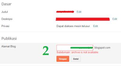 langkah 2 cara mengubah URL subdomain blogspot