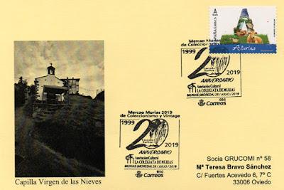 Aller, filatelia, Grucomi, Tarjeta,matasellos, 20 aniversario, Asociación Cultural La Colegiata, Murias