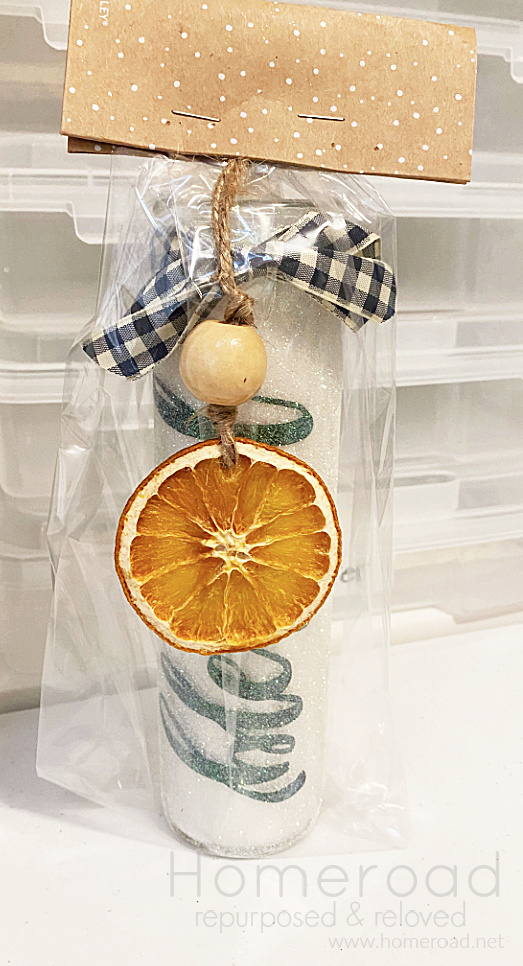 orange slice ornament on a package
