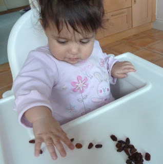 Baby in a highchair with raisins