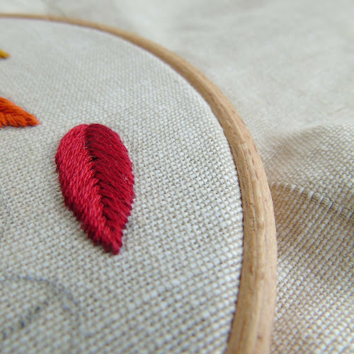 fishbone embroidery stitch created in crimson red thread