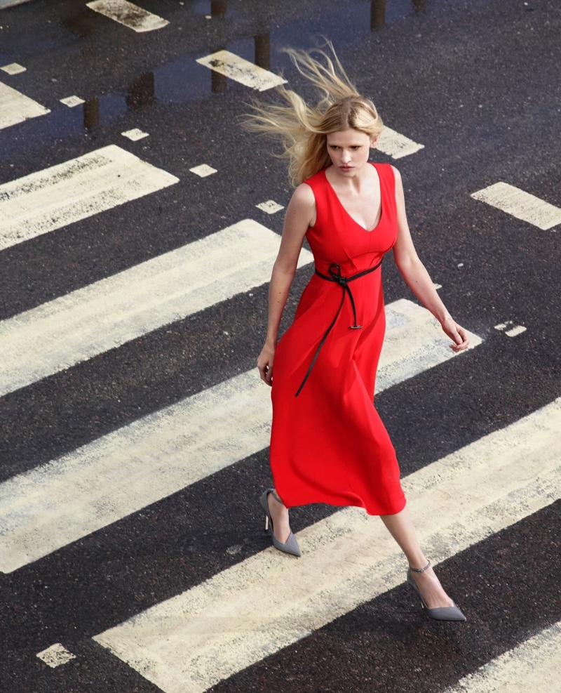 Lady in red, Lara Stone fronts Alessandro Dell'Acqua X Elena Mirò campaign.