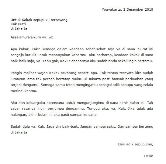 Contoh Surat Pribadi untuk Kakak (via: suratresmi.id