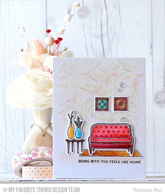 Handmade card from Yoonsun Hur featuring Lisa Johnson Designs Make Yourself at Home stamp set and Die-namics and Roses All Over Background stamp #mftstamps