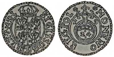 Półtorak 1619 bez herbu Sas