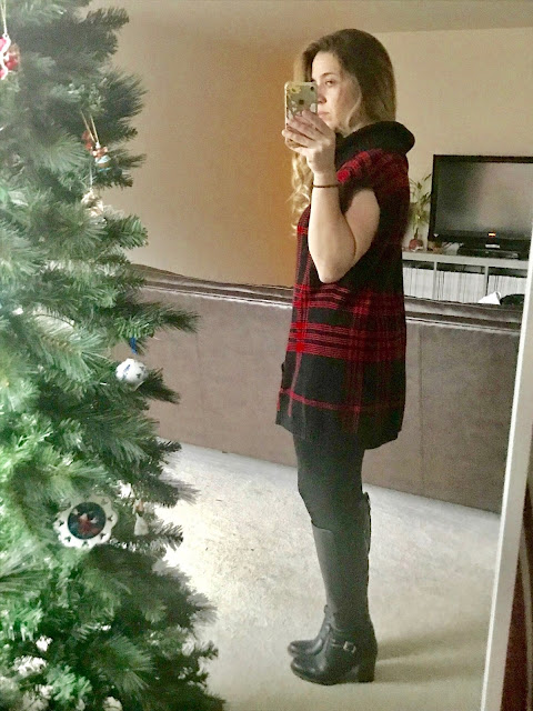 Thrifted Plaid Top, leggings, boots.