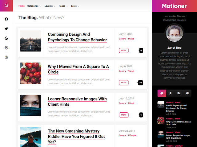 Montioner Best Free WordPress Themes For Blogs 2021