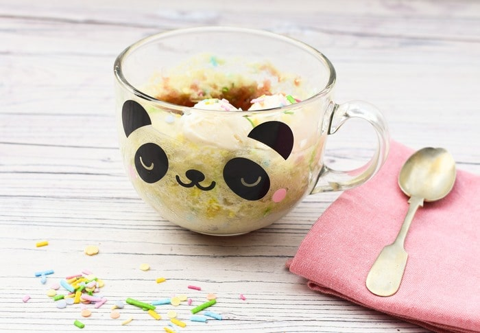 microwave jam pudding in a glass panda mug