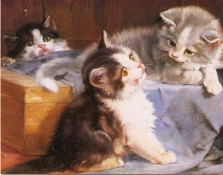 Painting of three kittens by Julius Adam