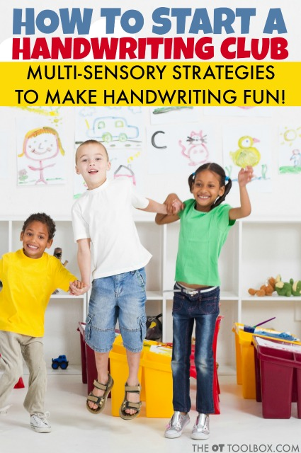 Use sensory handwriting activities, fine motor and gross motor activities to promote handwriting skills in a fun way with a handwriting club. Here's how to start your own handwriting club at school, as an after-school club, or a handwriting RTI process.