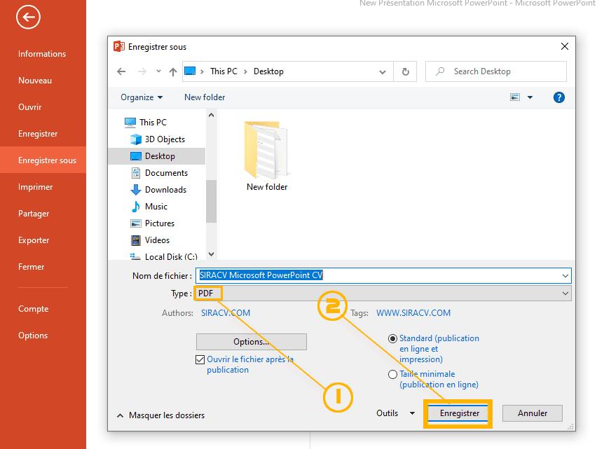 كتابة سيرة ذاتية PDF باستخدام برنامج بوربوينت