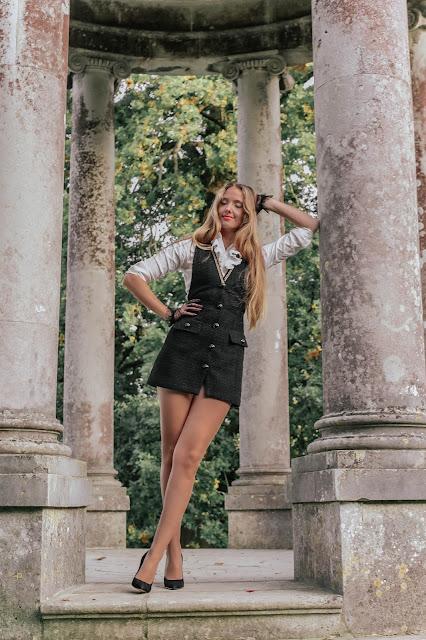 Zara sleeveless mini tweed dress