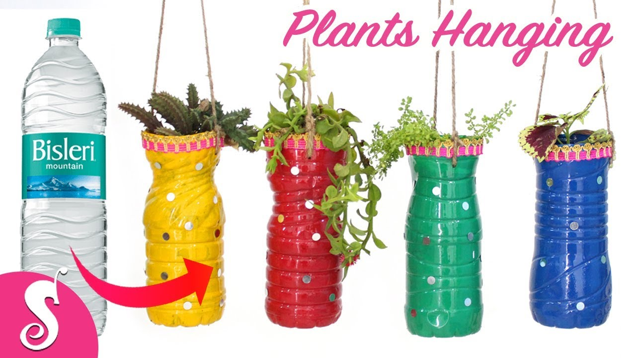 Waste bottle reusing make plants hanging for gardening for Craft using waste bottles