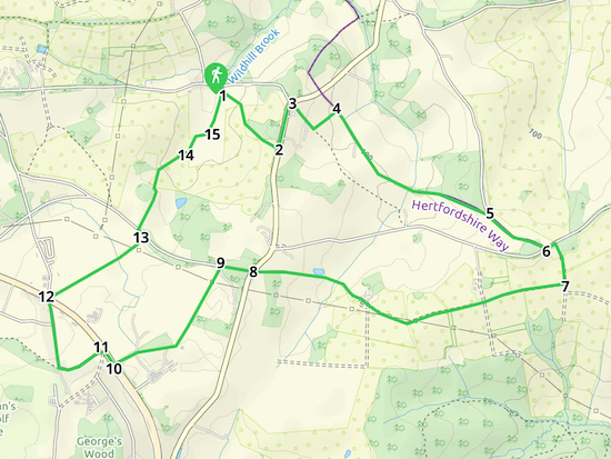 Map for Walk 18: Tylers Causeway Loop  Created on Map Hub by Hertfordshire Walker Elements © Thunderforest © OpenStreetMap contributors  Note: There is a larger, more detailed map embedded at the end of these directions