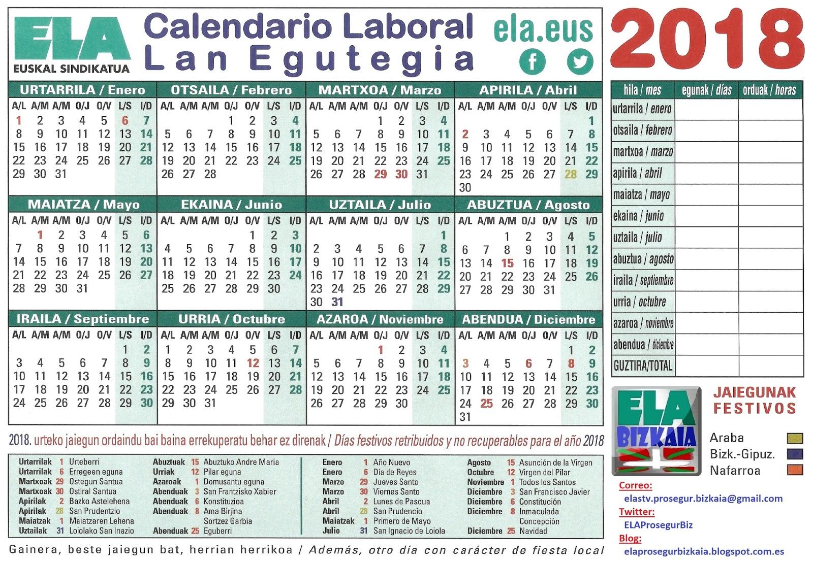 Calendarios 2018 Rd