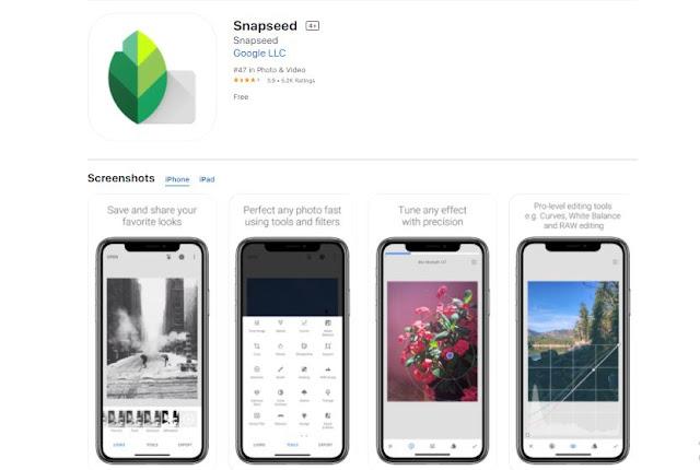 Snapseed screenshot on IOS App store