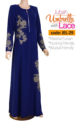 Jubah Umbrella Lace JEL-29 Blue Depan 2