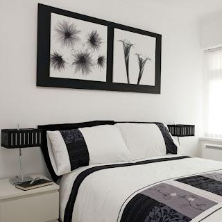 Dormitorio matrimonial en blanco y negro