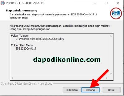 Aplikasi EDS 2020 COVID19 siap untuk dipasang, silakan klik pasang