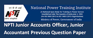 NPTI Junior Accounts Officer and Junior Accountant Previous Question Paper