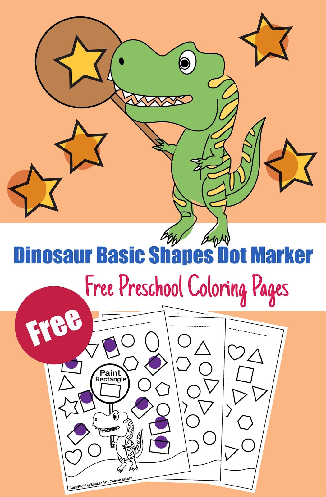 Shapes Dinosaur Preschool Coloring Pages T Rex Activity