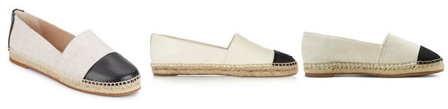 One of these two-tone espadrilles is from Target for $25, one is from French connection on sale for $50, and the other is from Tory Burch for $150. Can you guess which is which? Click the links below to see if you are correct!