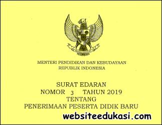 Surat Edaran Tentang PPDB Tahun Pelajaran 2019/2020