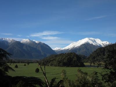 Vistas desde Franz Josef Glacier a Hokitika, Nueva Zelanda
