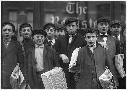 A group of newsboys circa 1909