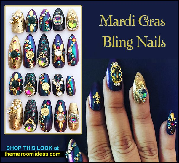 Mardi Gras Stiletto Nails Mardi Gras Bling Nails party nails dressy party nail designs - bling nails - glitter nails - nail decals - rhinestone decorations - sparkle nails - Jewelry Nail Art - Diamond nail designs - nail charms - nail art bling rhinestones - nail art design ideas - embossed nail art sticker decals - nail gems
