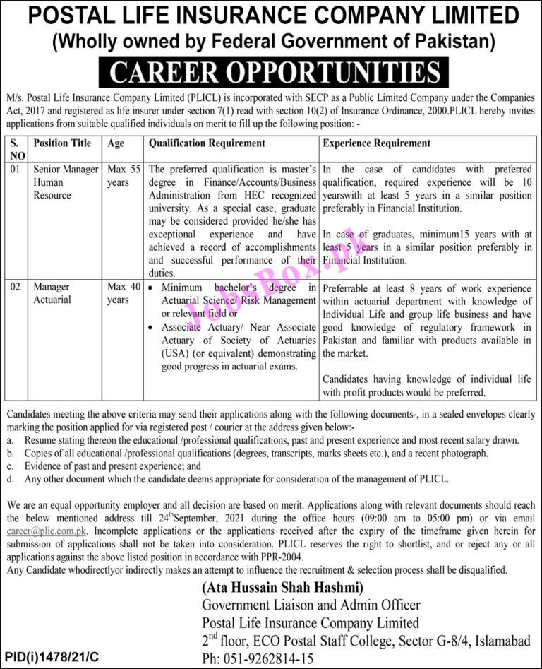 career@plic.com.pk - PLICL Postal Life Insurance Company Limited Jobs 2021 in Pakistan