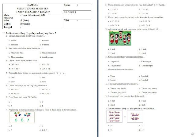Soal UTS Kelas 1 SD/MI: Tema 1 Subtema 1 dan 2