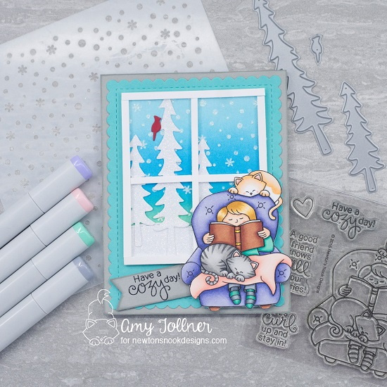 Have a cozy day by Amy features A Cozy Day, Forest Scene Builder, Petite Snow, Frames and Flags, and Land Borders; #newtonsnook, #cardmaking, #winter
