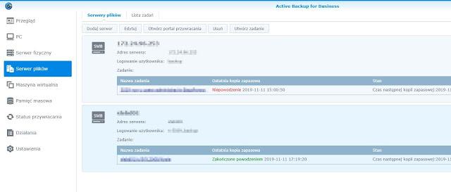 Active Backup for Business zakładka Serwer plików