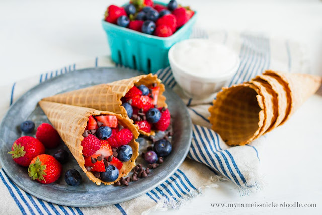 Easy and Sweet Summer Berry Cones.  The perfect summer treat!     mynameissnickerdoodle.com