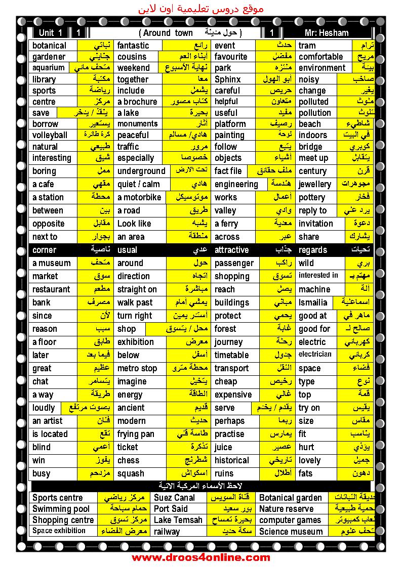 افضل مذكرة كاملة لغة إنجليزية(pdf-word) الصف الثالث الإعدادى الترم الأول 2022 مستر هشام ابوبكر