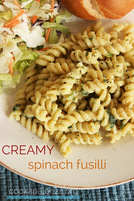 Creamy Spinach Fusilli: Upgrade your cream sauce to make it healthy (it isn't hard)