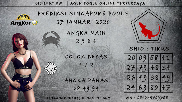 PREDIKSI SINGAPORE POOLS 27 JANUARI 2020