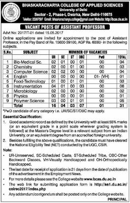 Bhaskaracharya College of Applied Sciences Recruitment 2017 bcas.du.ac.in