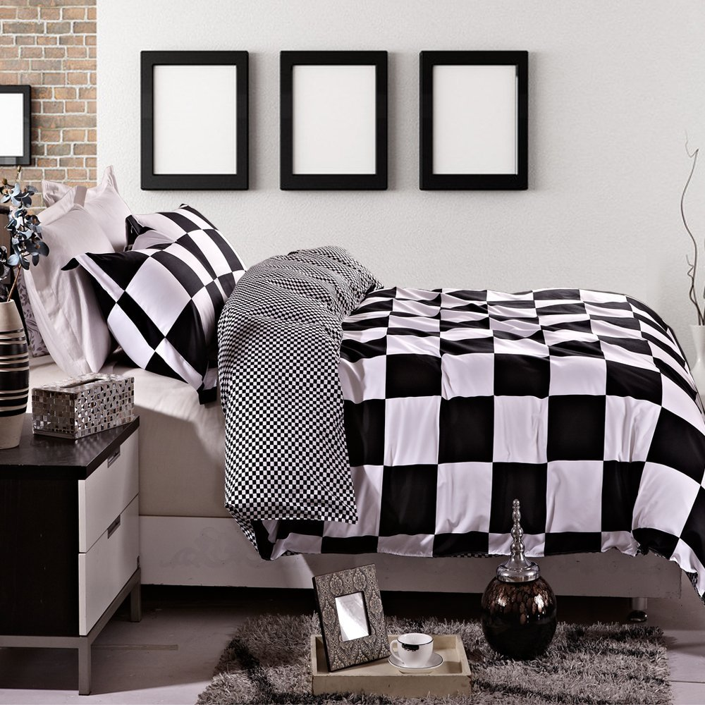 Bed sheet set black and white - Black And White Checkered Comforters Bedding Sets