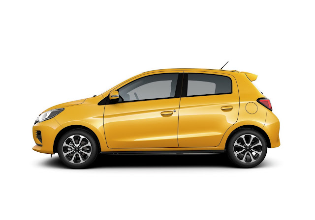 Yellow Mitsubishi Mirage
