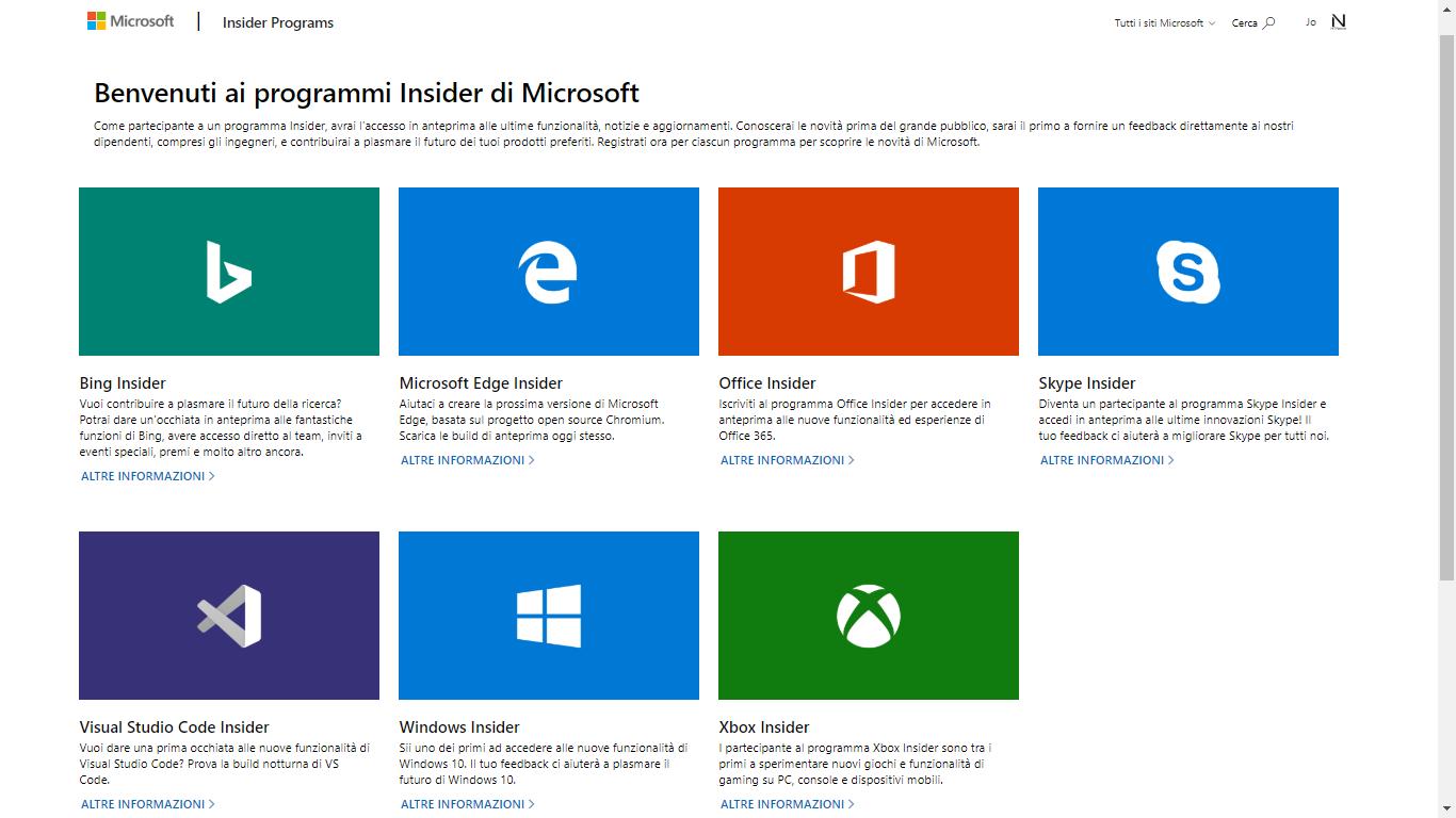 Accesso-tutti-Programmi-Insider-Microsoft